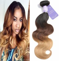 $enCountryForm.capitalKeyWord NZ - Ombre Color Hair #1b 4 27 Body Wave 3 Tone Color Brazilian Virgin Human Hair Weft 3PCS Free Shipping