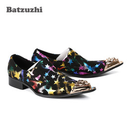 $enCountryForm.capitalKeyWord NZ - 2019 Luxury Men Shoes Gold Metal Tip Leather Dress Shoes Black Suede with Color Stars Rock Party and Wedding Dress Shoes, Big Sizes US6-12