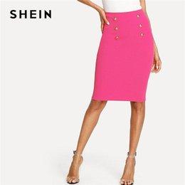 8d0beabdd2b SHEIN яркий ярко-розовый двойной кнопки юбка-карандаш женщины длиной до  колен равнина Bodycon нижние юбки 2018 Лето элегантный юбка-карандаш