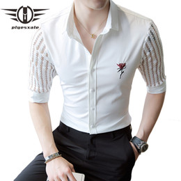 Summer Shirt Patterns Australia - Plyesxale Rose Pattern Embroidery Shirt Men See Through Half Sleeve Shirt 2019 Spring Summer White Mens Floral Lace Shirts S10