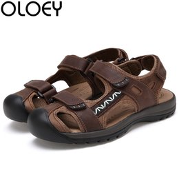 Sale Leather Sandals Canada - OLOEY Hot Sale New Fashion Summer Leisure Beach Men Shoes High Quality Leather Sandals The Big Yards Men's Sandals Size 38-45