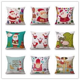Deer pillow cases online shopping - Christmas Style Cotton Linen Pillow Case Tree Santa Claus Deer Elk Cushion Cover Home Furnishing Digital Printing Pillowcase ls jj
