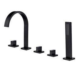 shower ceramic UK - Black bathtub water faucet copper hot and cold water split type cylinder side shower faucet four piece sets of waterfall faucet BL787