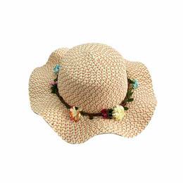 China Kids Large Brim Flower Beach Hats for Girls supplier brimmed hats for kids suppliers
