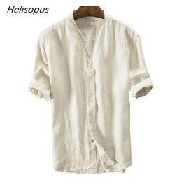 fdcedaa13f33 Helisopus 2018 Retro Pure Linen Shirt Men s Short Sleeves Casual Shirt  Summer Breathable Loose Type Casual Shirts