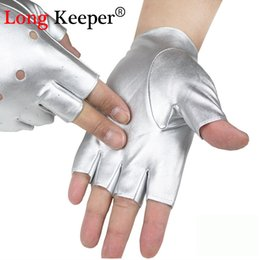 men fur leather gloves 2019 - Long Keeper Fashion Men's Gloves Fingerless Leather Gloves for Dancing Party Show Sport Fitness Black Silver Summer Luva