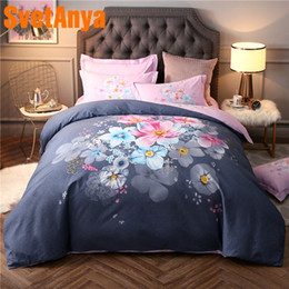 Colorful Modern Bedding NZ - wholesale Sanding Cotton Bedding Linens colorful Floral Print Queen King Full Double Size ( Sheet Pillowcase Duvet Cover Sets )