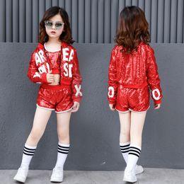 $enCountryForm.capitalKeyWord Australia - Red Sequin Ballroom Dance Costume Hip Hop Girls Crop Top Loose Clothing Kids Jazz Long Sleeve Jacket Fashion Dancewear Shorts