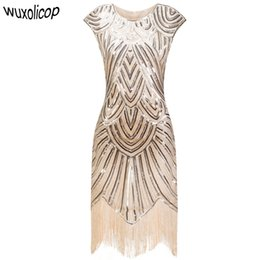 Vintage 1920s Flapper Great Gatsby Dress O-Neck Cap Sleeve Sequin Fringe  Party Midi Dress 2017 Summer Women Vestido De Festa 5ed78da7ee65