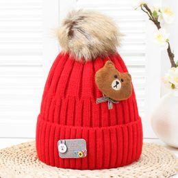 e644f36cddf Hat knitting bear online shopping - baby caps winter kids add wool stretch cartoon  bear knitted