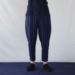 ankle length capris 2019 - Janpanses Style Men Casual Pants Harem Hiphop Ankle-Length Stripe Straight Pants Wide Legs Trousers Loose Plus Size S-5X