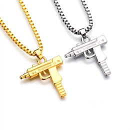 $enCountryForm.capitalKeyWord NZ - Brand designer hip hop gun necklace jewelry hiphop mens slides gun pendant necklace silver gold chain long necklace