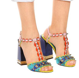 Super Blocks Australia - Mixed Colors Block Heels Women Sandals Rome Style Ankle Strap Women Pumps Peep Toe Studded Rivets High Heels Shoes