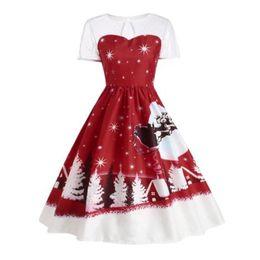 b851ceb1921c 2017 New Christmas Dresses Femme Vestito High Waist Patchwork A line Ladies  Women s Winter Tunic Robe Clothing WS4732Y