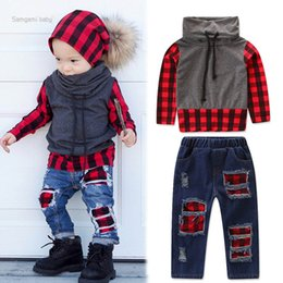 BaBy Boy korean style clothing online shopping - Baby Boys Jeans Suits Kids High Collar Red Plaid Patchwork Clothes Designer Sew Mend Korean Style Outfits PUllover Long Sleeve T