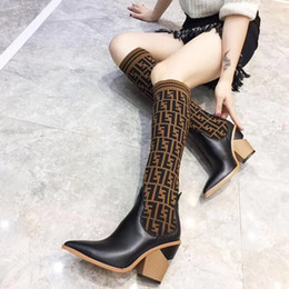 9547afa8a5ab Wide calf high boots online shopping - Fashion luxury designer women boots  Sexy Knitted socks thigh