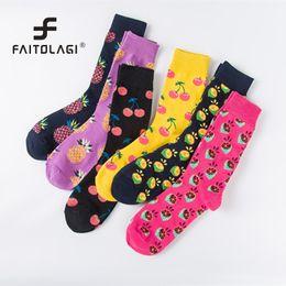 d0876dcda464 Harajuku Vintage Women Crew Socks Funny Fruit Cherry Pineapple Sock Girls  Streetwear Skateboard Socks couple woman men long sock