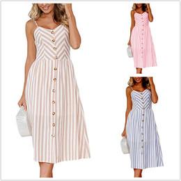 e3fd9ca6fa9 Striped Button Sexy Casual Summer Strap Dress Long Boho Beach Pockets Women  Sundress Vestidos Elegant Daily Dess Female 0895