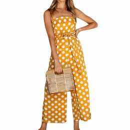 10ecf4430452 Yellow Dot Printed Jumpsuit Womens Summer Casual Strapless Wide Leg  Jumpsuits Vintage Beach Rompers Ladies Trousers  10