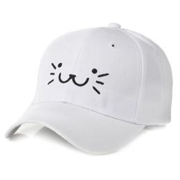 Boné de beisebol dos desenhos animados do verão outono das crianças com  bordado padrão de gato 3-8 anos meninos meninas brim chapéus preto rosa  branco 9f9fd7a3869