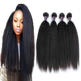 22 inch yaki weave 2019 - 8A Brazilian Virgin Hair Kinky Straight 4 Bundles 100% Brazilian Kinky Straight Human Hair Extensions Brazilian Coarse Y
