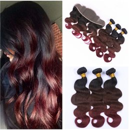 $enCountryForm.capitalKeyWord NZ - Body Wave #1B 4 99J Wine Red Ombre Virgin Peruvian Hair Weaves with 13x4 Lace Frontal Closure Three Tone Ombre Human Hair Bundles
