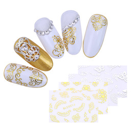 $enCountryForm.capitalKeyWord UK - 4 Sheets 3D Nail Sticker Gold Sliver Flowers Hearts Butterfly Stars Cloud DIY Nail Art Decoration