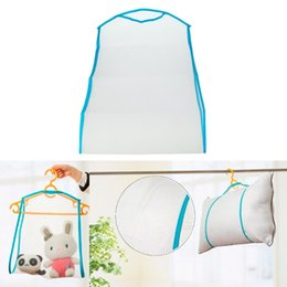 Clothes Hanging Clips Australia - Pillow Drying Rack Nets Folding Mesh Hanging Clothes Basket For Doll Plush Toys