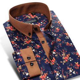 8db2ca8b6 100% Cotton High-end Floral Men Casual Shirts Long Sleeve Button-down  Collar Flower Printed Fashion Design Party Shirts Men