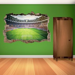 Chinese 3d Wall Stickers Australia - 3D Stickers Football Field Wall Stickers Wallpapers Waterproof PVC Wall Posters Boy Bedroom Living Room Background Decoration