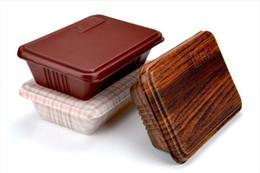 Commercio all'ingrosso 300pcs creativo di grano di legno di design contenitore di cibo usa e getta Snack Packing Scatole di microuso PP Bento Box