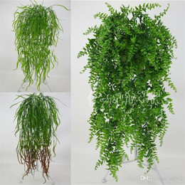 fake vines decoration UK - Artificial Green Wall Hanging Rattan For Home Wedding Party Decorations Simulation Fake Green Plants Plastic Flowers 7 6yy ZZ