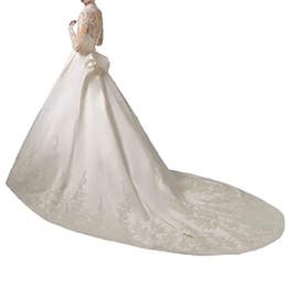 24w Plus Size Dresses For Wedding UK - Women's Long sleenes Wedding Dress 2019 Wedding Gowns for Bride Long Sleeve Luxury Lace Satin Train Wedding Dress robe de mariage