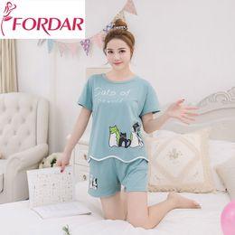 185f25a80e Kawaii Summer Women Pajamas Set Short Sleeved Tops Cat Printed Tshirt  Elastic Waist Shorts Fashion Leisure Sleepwear Two Piece