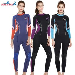 5021b8db261 DIVE SAIL 3mm Neoprene Women Full Body Patchwork Wetsuit One-piece Winter  Warm Swimsuit Jumpsuit for Snorkeling Surfing Diving