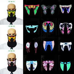 Wholesale Hot design Flash LED music Mask With Sound Active for Dancing Riding Skating EL Party Voice control mask kids toys