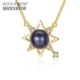 $enCountryForm.capitalKeyWord UK - MSXNEOW 18K Gold-color 925 Sterling Silver Chic pearl Pendant Necklace Girls Wedding Accessories Lucky Star Shape Jewelry FN0096