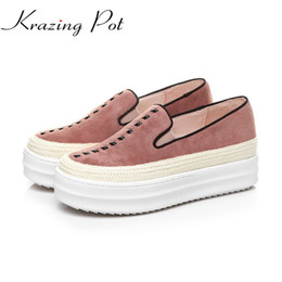 9f20e30ed8 Krazing Pot Large size superstar slip on round toe flats original design  platform causal women increased vulcanized shoes L55