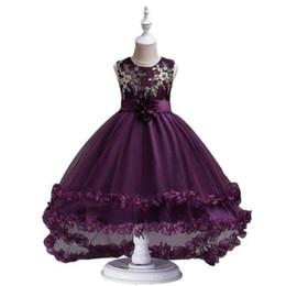 2019 ropa para niños vestido de esmoquin de la pasarela de los niños niño grande flor princesa vestido de lentejuelas bordado falda de los niños