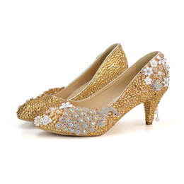 Gold Rhinestone Pumps Wedding Party Shoes Middle Heel Pointed Toe  Graduation Prom Dancing Shoes Crystal Mother of Bride Shoes ad6691f7bd53