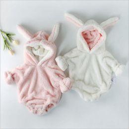 Discount baby romper velvet - Ins Baby Rompers Long Sleeve Hooded Romper Rabbit Design Velvet Jumsuits Infant Winter Jumpsuit Baby Soft Clothes Solid