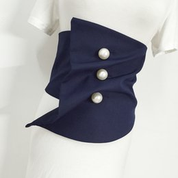 69a44f00a18 New Arrival Women Vintage Irregular Hem Wide Waist Cincher Belt Black Navy  Thin Warm Waist Obi With Pearl White Buttons