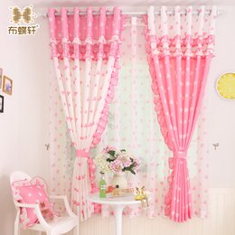 Discount korean style girls top - Hot Sale ! Korean Pastoral Style Sweet and Cosy Heart- Shaped Pink Painting Flounce Curtains for Children Girl Bedroom