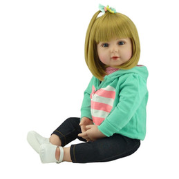 "Discount real silicone reborn girl doll - Wholesale- Girl baby s 22"" handmade silicone vinyl reborn babies dolls for children gift bebe reborn silicone dolls"