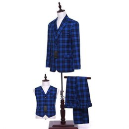 $enCountryForm.capitalKeyWord UK - Royal Blue Plaid Men Wedding Suits Groom Tuxedo Bridegroom Business Formal Suits (Jacket + pants + vest) Custom Made S18101903
