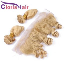 blonde mongolian curly hair 2019 - Loose Curly Blonde Weave Virgin Brazilian Hair 3 Bundles With Closure Loose Wave Human Hair Extensions 613 Blonde Full L
