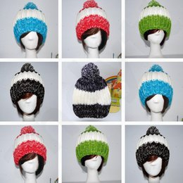 Wholesale Korean Style Knitting Woolen Yarn Hat Hair Ball Lovely Patchwork Beanie Keep Warm Outdoors Ear Guard Children Hats T7G012