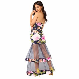 Balls Bra UK - Summer Female Peony Print Tube Top Dress Fashion Sexy Dress Women Lace Mesh Yarn Stitching Party Perspective Bra