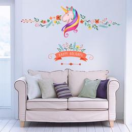 Unicorn Stickers NZ - Christmas Birthday Gift Flower Unicorn Wall Stickers Animal Happy Holiday Colorful Stickers For kids Room Window Decor
