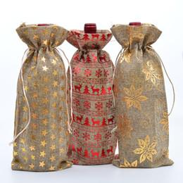 "$enCountryForm.capitalKeyWord NZ - 6""x14"" Chrismas Jute Wine Bags Burlap Drawstring Wine Bottle Covers Weddings Party Champagne Linen Wine Gift Bags Wrapping Bag"